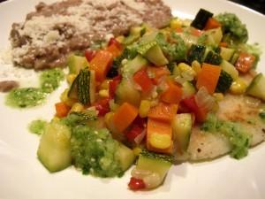Potato Masa Cakes and Vegetables