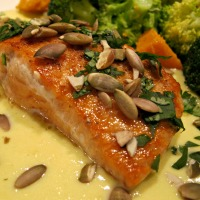 Sautéed Salmon with Creamy Corn Sauce and Toasted Pumpkin Seeds