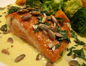 Salmon with Corn Sauce