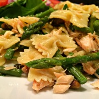 Smoked Salmon, Asparagus and Spicy Pistachio Pasta