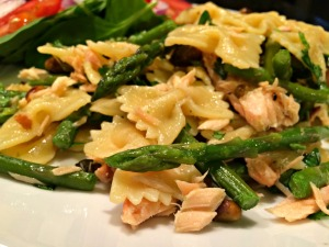 Asparagus Farfalle with Smoked Salmon and Pistachios