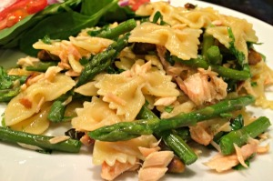 Bow Ties with Smoked Salmon Asparagus and Spicy Pistachios