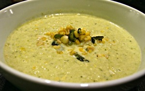 Cream of Corn and Poblano Soup