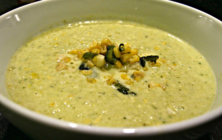 Cream of Corn and Poblano Soup
