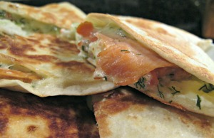 Dilled Smoked Salmon Quesadillas Close up