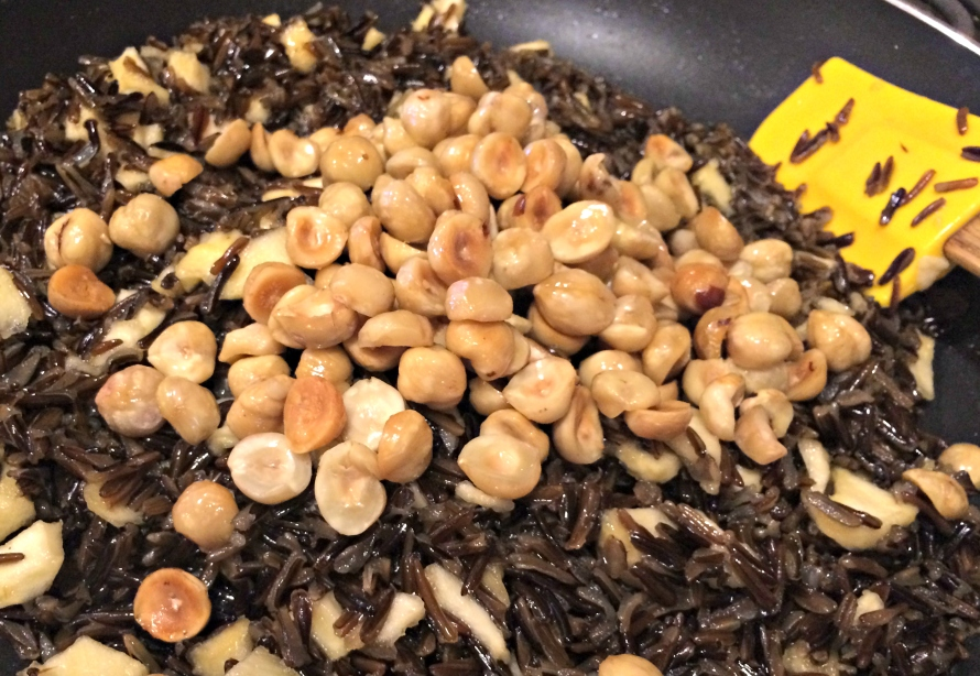 Hazelnuts added to the Wild Rice and Dried Apples