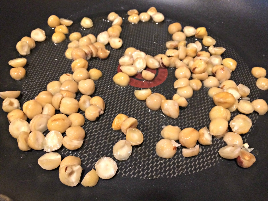 Hazelnuts toasting