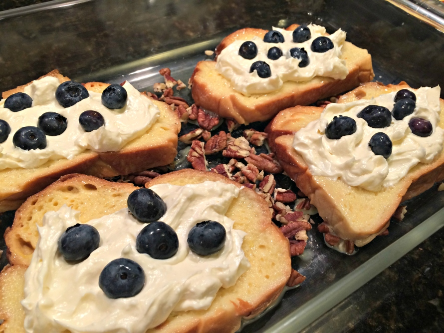 Maple Pecan French Toast with Blueberries over Cream Cheese